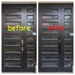 【久留米 玄関の鍵を使いやすい物に取り替えたい】 サムタッチ錠→プッシュプル錠へ
